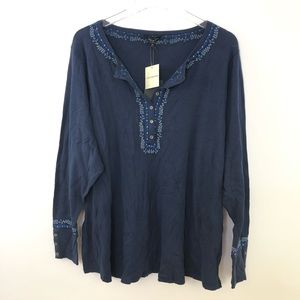 NWT Lucky Brand Plus Size Embroidered Henley 3X